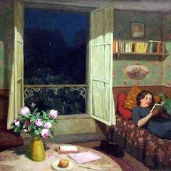tavik-frantisek-simon--vilma-reading-on-a-sofa