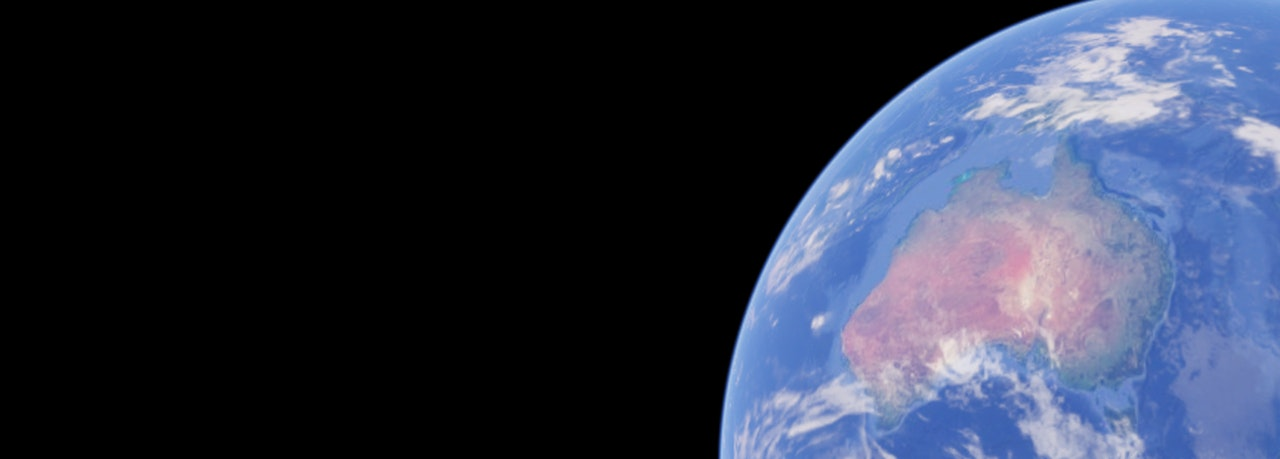 Black background with an image of the earth on the right hand side, as seen from space