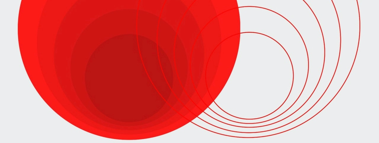 A graphic image with a solid red circle and five line circles.  Circles are slightly cut off the top