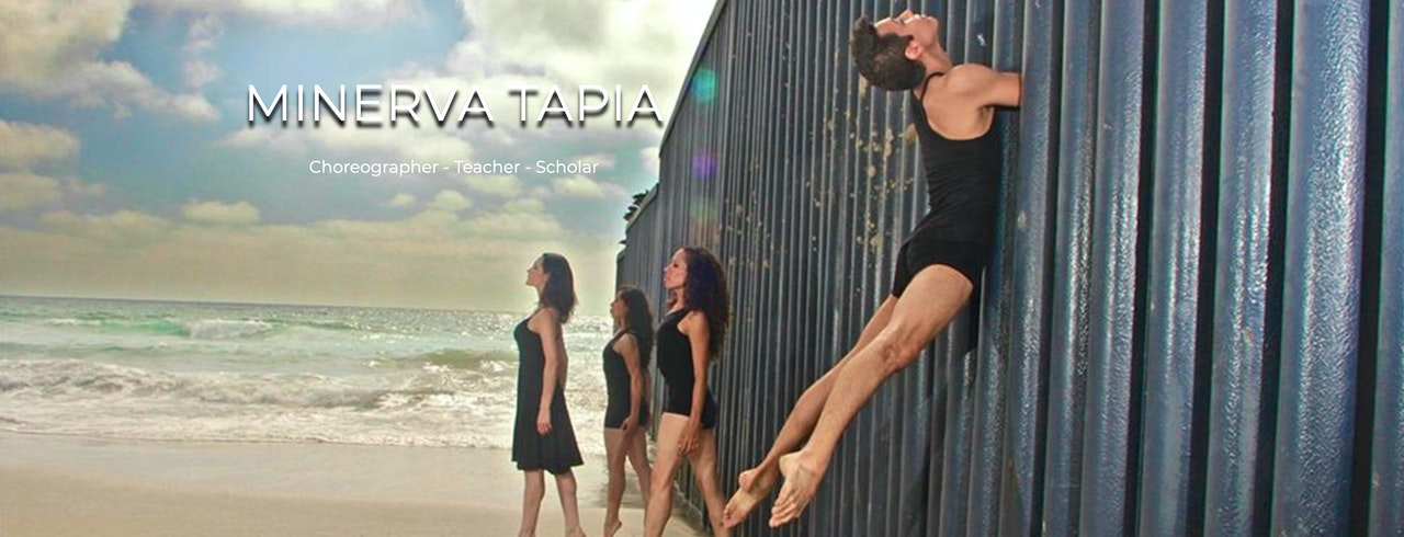 Art photo of four dancers wearing black dresses or leotards, positioned by the ocean.  One dancer is leaping through the pylons of the jetting on the right hand side.  Text reads Minerva Tapia