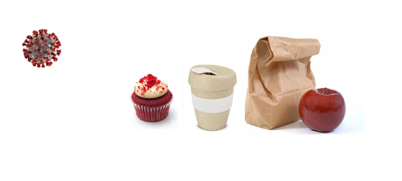 White background with (Left to right) a graphic of CoVID virus cell, a small cake with white icing, a takeaway coffee cup, a brown paper bag like a lunch bag and a red apple.
